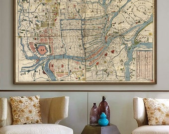 "Map of Osaka 1830, Vintage Osaka map in 4 sizes up to 54x36"" (140x90 cm) Large wall map of Osaka, Japan - Limited Edition of 100"