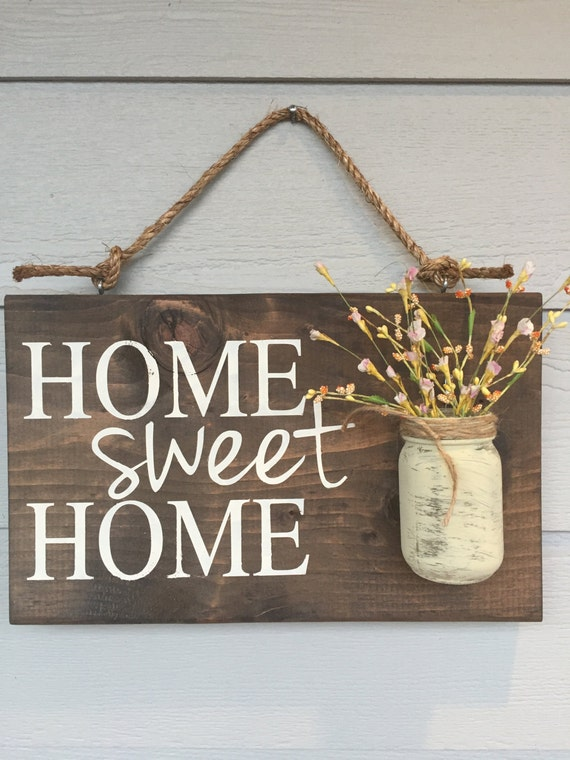 Rustic outdoor home sweet home wood signs front by for Welcome home decorations