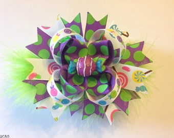 Purple Candy Lollipop Stacked Boutique Bow