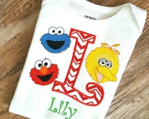 Personalized Sesame Street Elmo Big Bird Cookie Monster Shirt or Onesie- Embroidery Applique t-shirt or onesien- Any Age