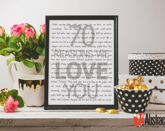 70th Birthday Print - 70 Reasons We Love You - Digital poster - Custom design