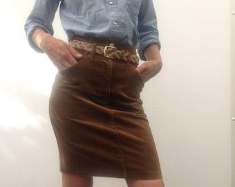 Vintage 80s KENZO skirt corduroy miniskirt ocher size 38 high waisted Kenzo Jeans