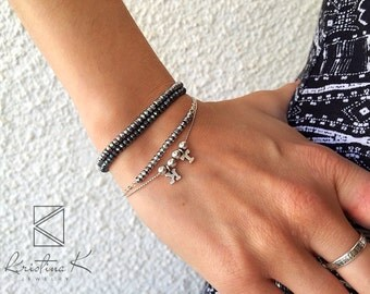 Silver Light Grey Hematite Bracelet | 925 Silver | Beads Bracelet | Hematite Bracelet | Hematite Jewelry | Silver Bracelet | Valentines gift