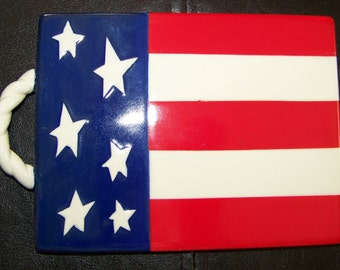 Vintage Ceramic American Flag Wall Hanging Patriotic Stars and Stripes Fourth of July