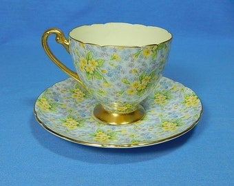 Shelley Primrose Chintz Cup and Saucer, Shelley Chintz Tea Cup and Saucer, Vintage Chintz China, Shelley China, Shelley Tea Cup Shelley Cup