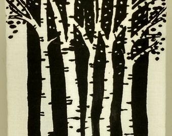 Hand Painted Birch Tree Black and White Wall Decor  Home decor Art Tree Painting Tree Lovers Scandinavian Art