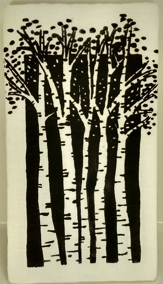 Hand painted birch tree black and white wall decor home decor for Black and white tree wall mural