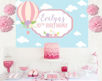 Hot Air Balloon Personalized Backdrop - Baby Shower Cake Table Backdrop Birthday- Up Up And Away Birthday Backdrop, Custom Backdrop