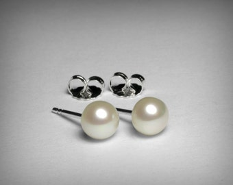 Freshwater Pearl Earrings, Sterling Silver Pearl Stud Earrings, Genuine Natural Cultured Freshwater 8mm Button Pearl, Wedding Bridal Jewelry