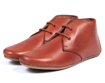 Aspele Tan Leather Flat chelsea Ankle boots,Lace Up