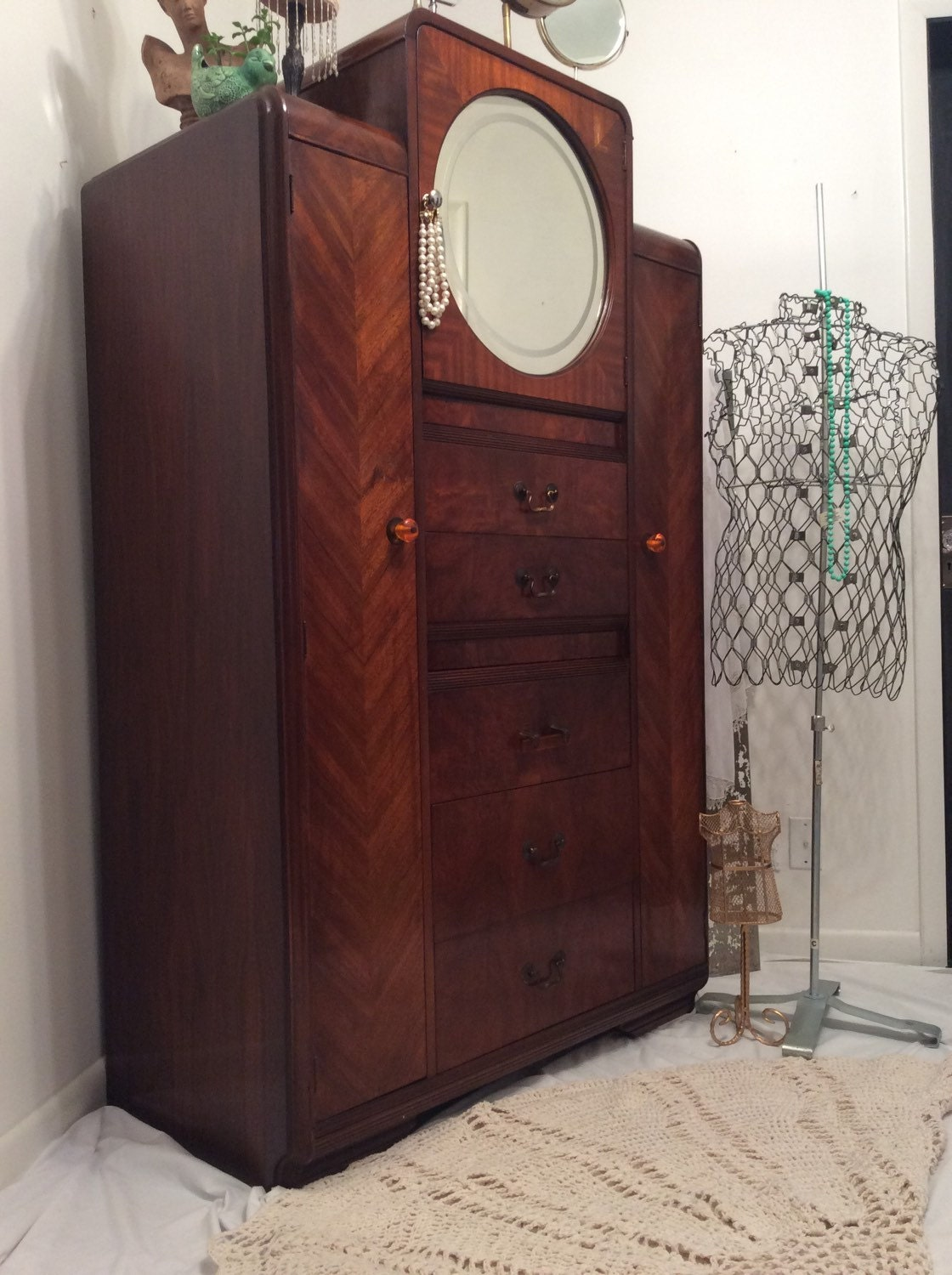 hold art deco chifferobe armoire dresser antique. Black Bedroom Furniture Sets. Home Design Ideas