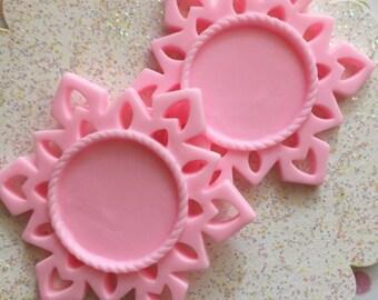 Pink Cameo Setting, Cameo Frame, Geometric Cameo Setting ( 2 pcs ) 55mm cameo setting, Geometric Pendant