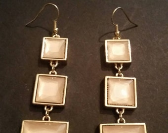 Vintage Dangle Earrings Peach Tile Costume Jewelry