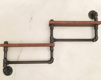industrial rustic dual towel bar with shelf towel bar double towel bar - Double Towel Bar