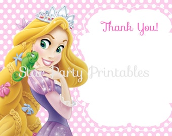Instant Download, Rapunzel Thank you card, Tangled, Disney Princess, Kid's Birthday Party thank you, Birthday thank you card