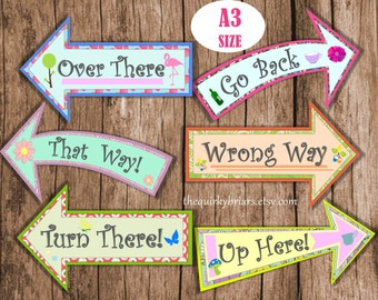 Alice In Wonderland Photo Booth Props / Mad Hatter Large Arrow Signs / Weddings / Party Printable / Decors / PDF Digital Instant Download