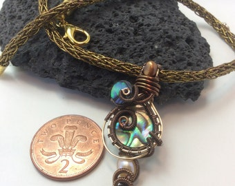 wire wrapped abalone shell with pearl