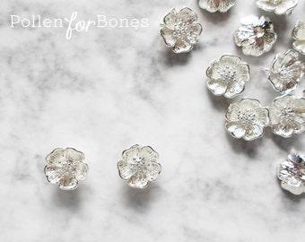 2pcs ∙ Silver Cherry Blossom Charm Dainty Sakura Flower Pendant Floral Jewelry Supplies