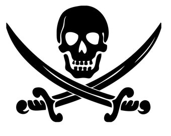 Pirate Skull Vinyl iron on decal multiple sizes and colors