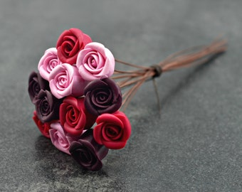 Miniature Rose Bouquet, handcrafted miniature roses