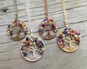 Rainbow Chakra Tree Necklace