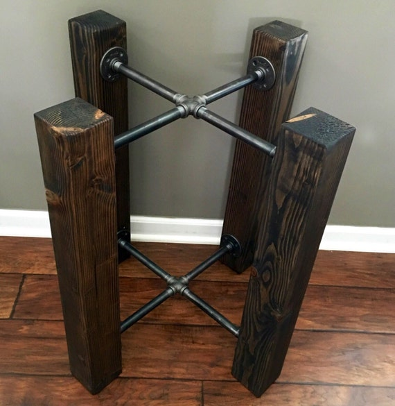 CUSTOM Wood Beam amp Iron Pipe RoundSquare Dining By
