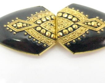 Vintage Art Deco Czech Black Gold Glass Buckle - Book Piece
