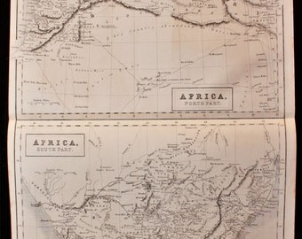 Antique Map of North Africa, South Africa, c. 1850. Steel Engraved Map.