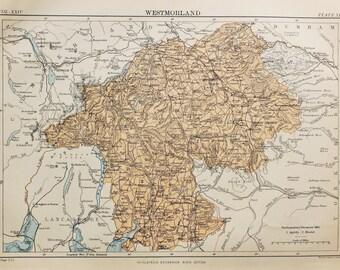Antique Map of Westmorland. Encyclopedia Britannica, 1870s