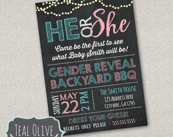 Gender Reveal Party Invite - Digital Download - He or She, Pink or Blue, Boy or Girl, Bows or Bowties