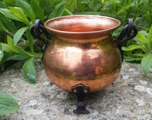 Vintage copper cauldron, small cauldron, cauldron incense burner, witches cauldron, wiccan altar decor, pagan altar kit, pocket altar tools
