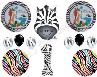 ZEBRA 1ST FIRST Happy Birthday party Balloons Decoration Supplies Safari Zoo