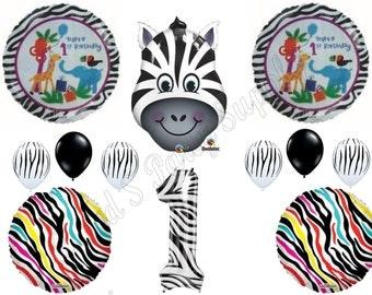 ZEBRA 1ST FIRST Happy Birthday party Balloons Decoration Supplies Safari Zoo