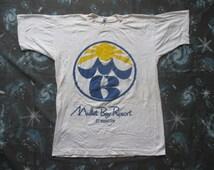 70s Mullet Bay Resort St. Maarten Worlds Most Beautiful All Seasons Resort 1800-4-Mullet  Paper Thin Vtg. T-Shirt // SIZE SMALL