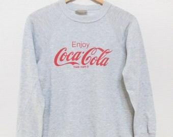 RARE 80s ENJOY COCA Cola Vintage Soft Threadbare Grey Advertising Sweatshirt / Size Small