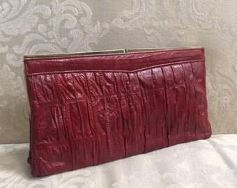 Vintage Clutch, Eel Skin Clutch, Red Eel Skin Purse, Red Shoulder Bag, Leather Handbag, Leather Clutch, Vintage Eel Skin Purse, Eel Purse