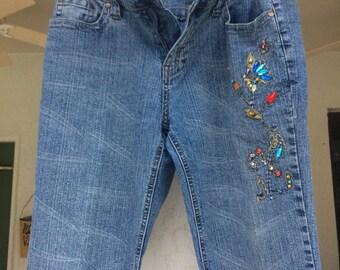 Vintage Jeans, Embellished Jeans, 1970's Jeans, Size 30 Jeans, Studded Jeans, Embroidered Jeans, Old Jeans, Jeans, Flared Jeans, Blue Jeans