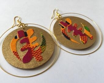 Adinkra earrings, African earrings, gye nyame earrings, African hoop earrings, wax print earrings, wooden earrings, wood earrings