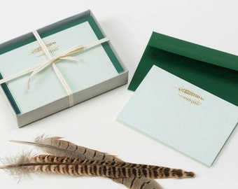 Luxury stationery. Gold feather note cards. Gold feather note cards in powder green with a forest green envelope. Stationery set.