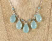 Aqua Chalcedony & Sterling Silver Bib Necklace. Gemstone Statement Necklace. Blue Bead Necklace. Wire Wrapped Jewellery. Green Jewelry