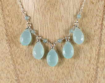 Aqua Chalcedony & Sterling Silver Bib Necklace. Wire Wrapped Statement Necklace. Semi Precious Gemstone Jewelry. Wire and Bead Jewellery