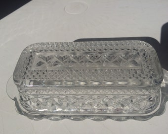 Vintage Clear Crystal Butter Dish