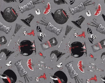 Halloween Fabric By The Yard, Oddities Potions and Brews by Andrew Pinder For Elizabeth Studios
