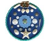 Blue Seashell Art Hoop