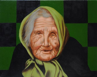 Oil painting portrait of old woman