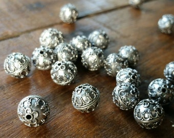 5 Intricate hand made antique silver Bali beads 10mm. 925 sterling  silver #1901