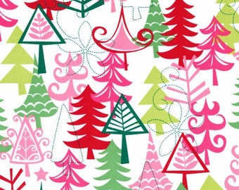 Yule Trees Christmas print fabric by Michael Miller
