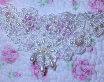 Assorted Appliques LOT of (10) Venice Lace Pearls Beads #10 FREE SHIPPING