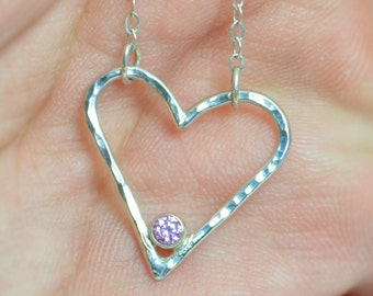 Pink Tourmaline Heart Necklace, Sterling Silver, Mothers Necklace, October Birthstone, Tourmaline Necklace, Mother Necklace, Heart Pendant