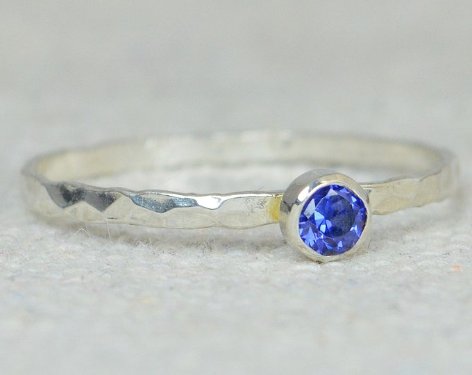 Dainty Sapphire Ring, Thin Silver Ring, Skinny Ring, Stack Ring, Stacking Ring, Mother's Ring, Dainty Ring, Alari, September Birthstone